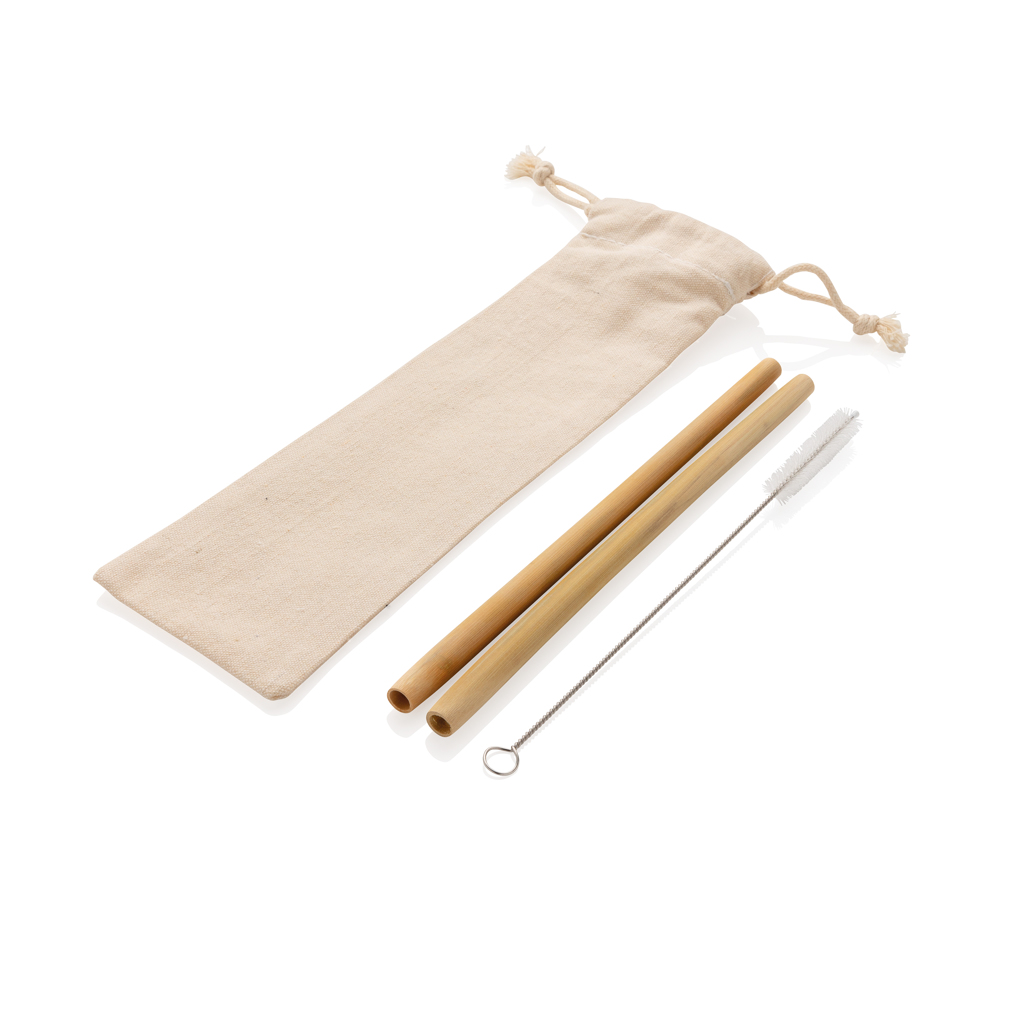 Reusable bamboo drinking straw set 2 pcs