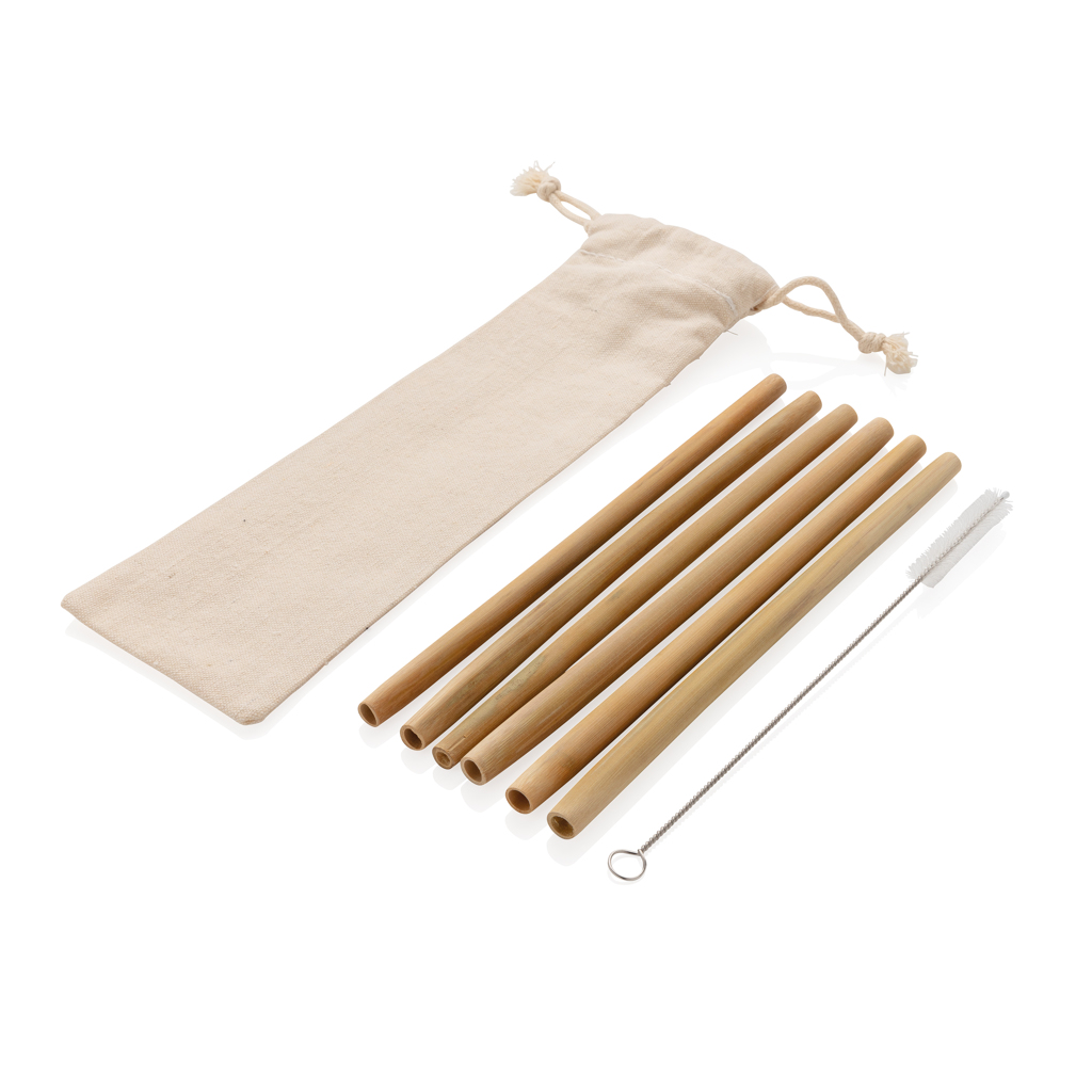 Reusable bamboo drinking straw set 6 pcs
